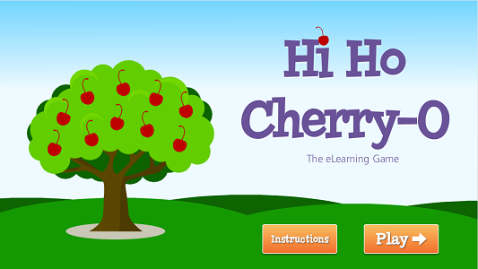 eLearning game cover slide with cherry tree