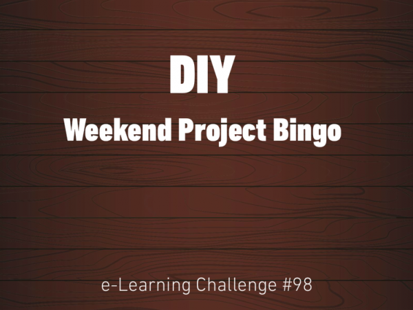 DIY Weekend Project Bingo title slide on an illustrated wood background.