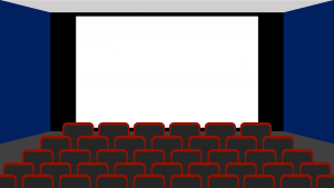 Digital render of a movie theater with a placeholder for the screen