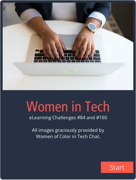 "Woman typing on a computer with ""Women in Tech"" below"