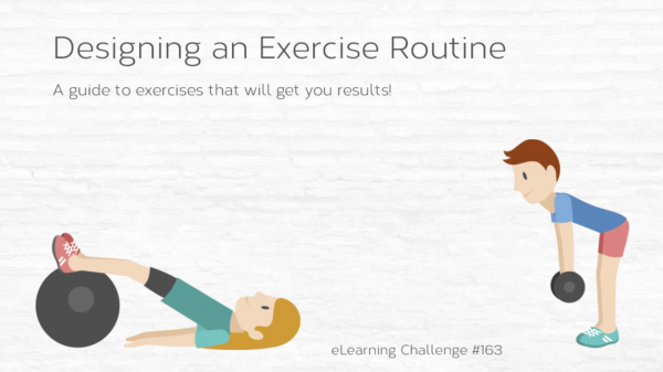 """Designing An Exercise Routine"" title showing two people exercising"