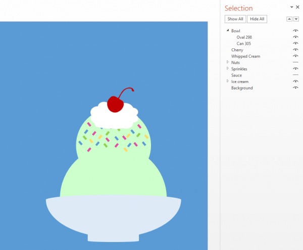 Ice cream sundae build in PowerPoint with the Selection Pane showing all components