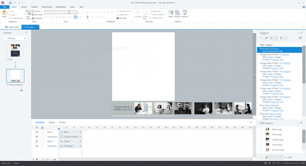 Storyline slide view showing filmstrip slider and corresponding triggers