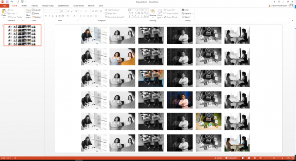 Powerpoint slide with six groups of images creating six filmstrips