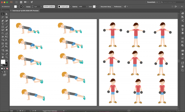 Screenshot of Illustrator showing two characters in a variety of poses