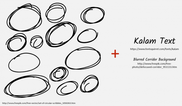 Scribbled circle icons and links to font and background image