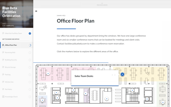 Labeled graphic of an office floor plan pointing our where the sales team sits.
