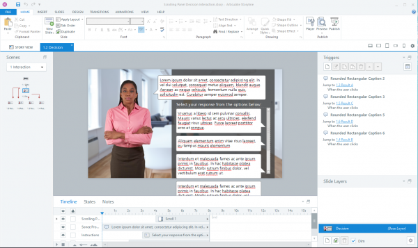 Construction of scrolling panel responses within Articulate Storyline