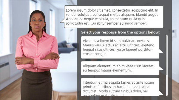 Woman with speech bubble of placeholder text followed by placeholder responses to choose from