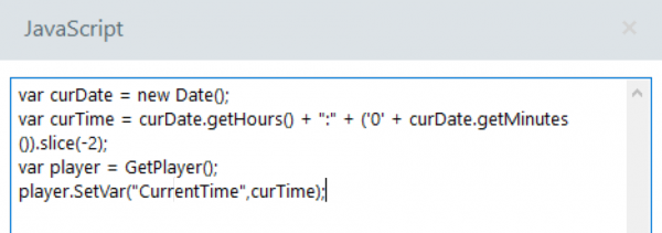 Javascript code to set a variable to the current time
