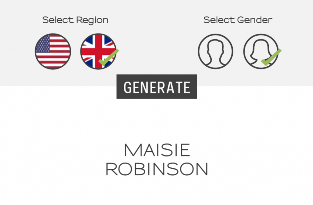 Name generator with UK Female selected and Maisie Robinson as the generated name