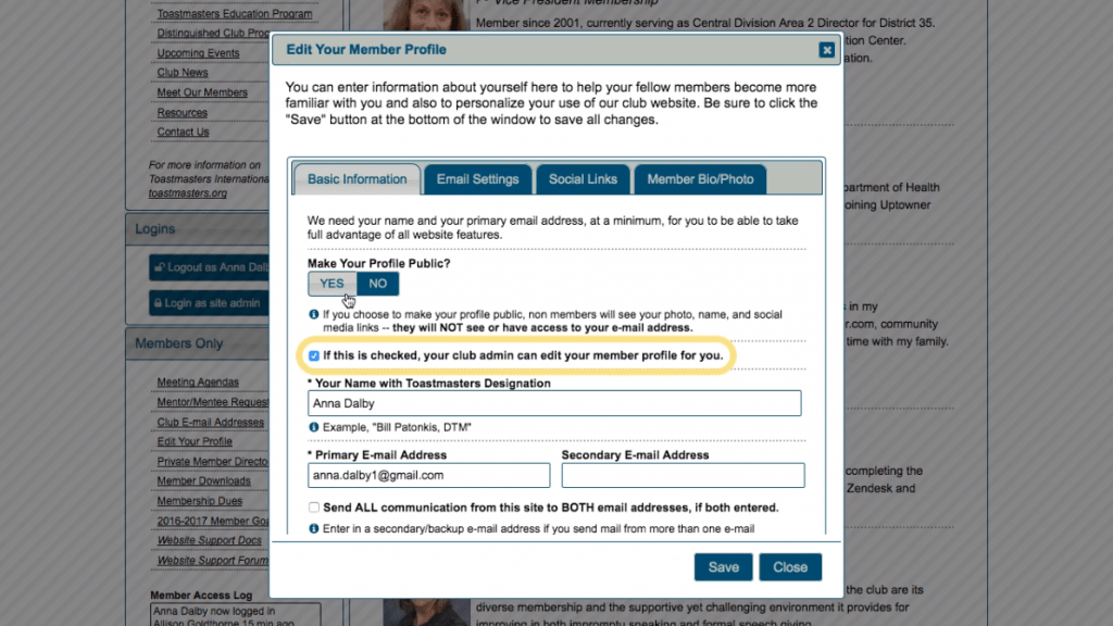 Toastmasters website with oval annotation highlighting checkbox