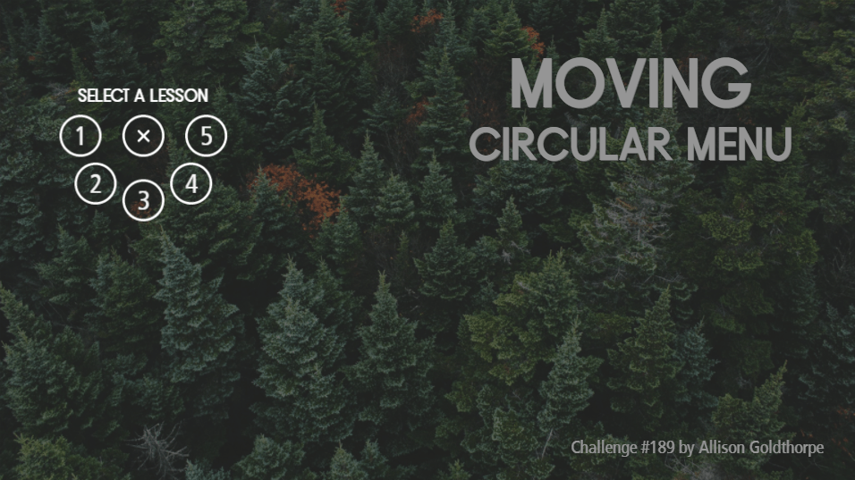 Moving Circular Navigation Menu