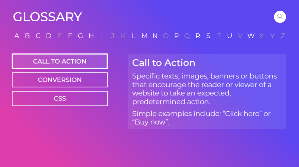 Glossary page displaying Call to Action selected