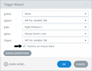 Storyline trigger featuring the option to restore upon mose leave
