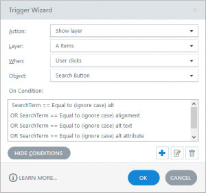 Storyline trigger logic for running a search