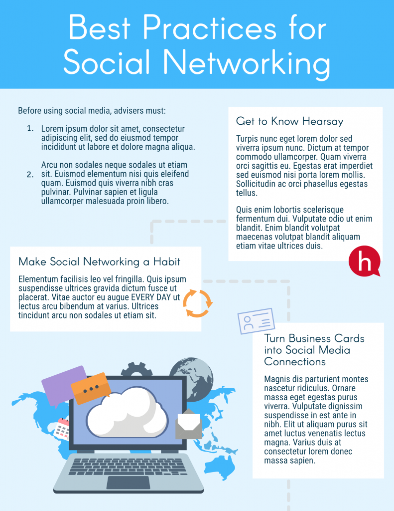Infographic entitled Best Practices for Social Networking with fake text