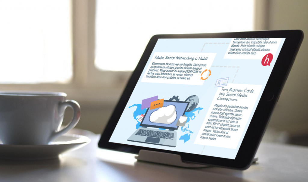 Tablet with infographic about social networking sitting on desk next to teacup
